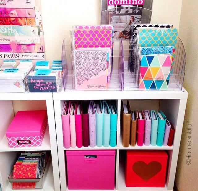 caixa organizadora estante baixa colorida