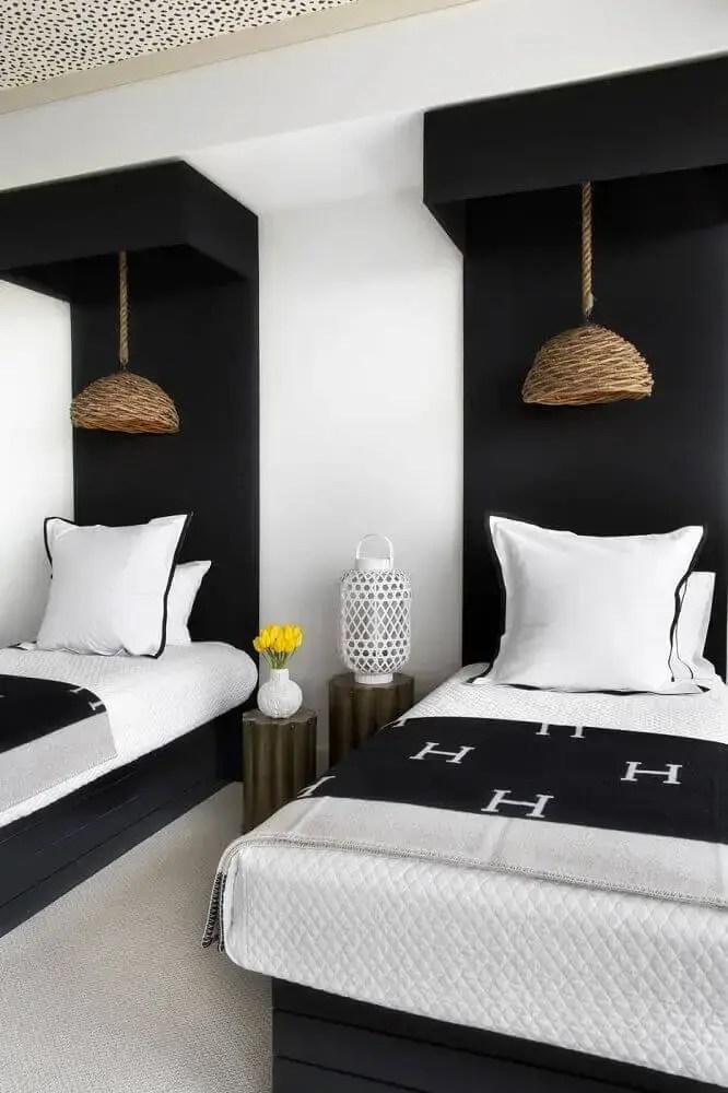 decoração de quarto preto de solteiro