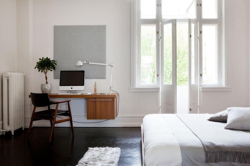 decoração minimalista no quarto com home office