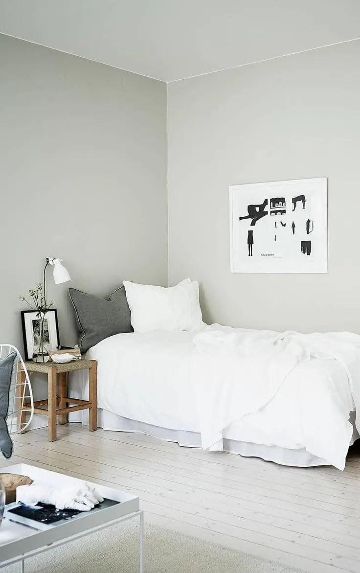 decoração minimalista no quarto de solteiro