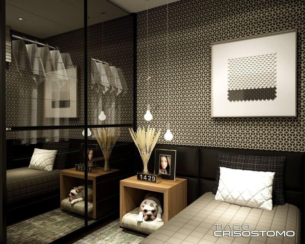 Decoração de quarto preto moderno com pendente minimalista
