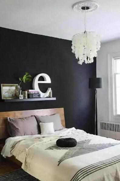 dark bedroom wall idea Quarto Preto: 35 Maneiras de Decorar o seu Quarto