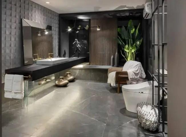 Banheiro de luxo cinza Projeto de Casa Cor Brasília 17