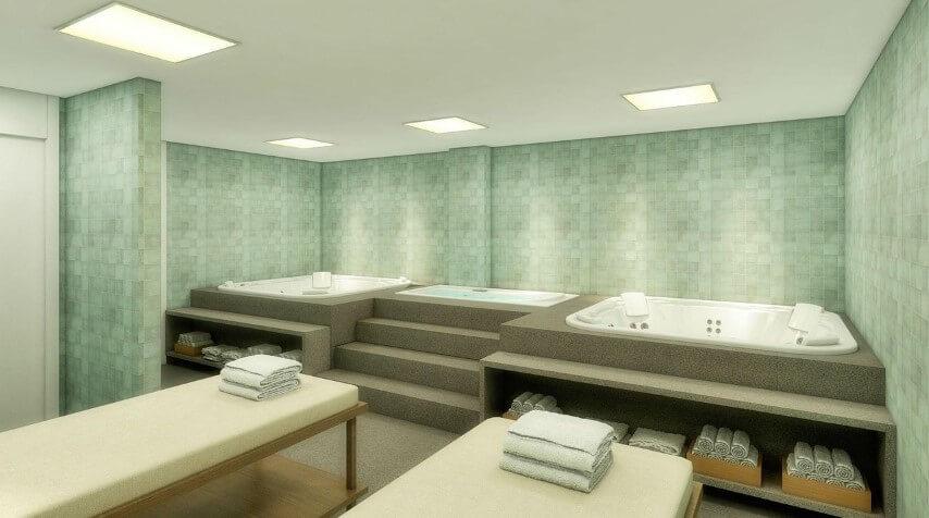 Banheiro de luxo com duas banheiras Projeto de Triplex Arqui