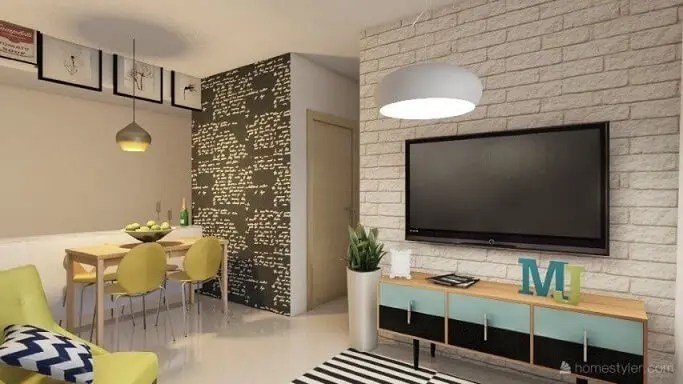 Sala integrada com rack retrô colorido Projeto de Sonia Pozo Prado Mello