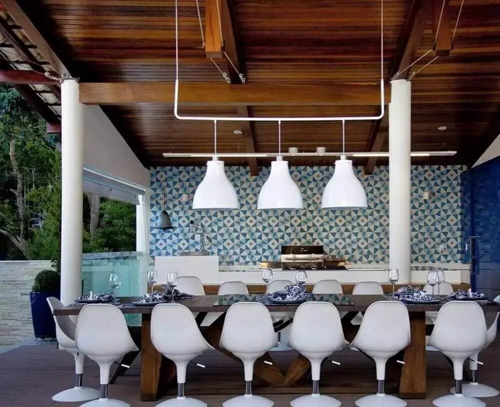 decoração de área gourmet moderna externa