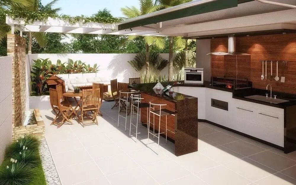móveis de madeira para área gourmet externa