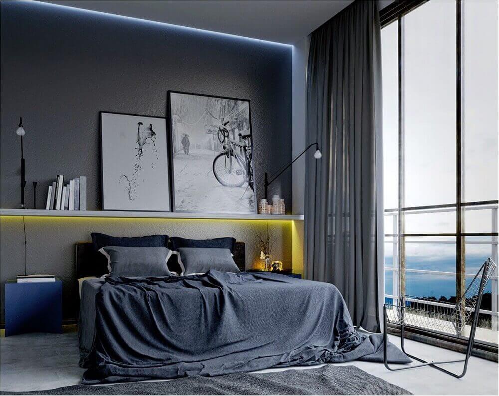 decoração em tons de cinza para quarto moderno com prateleira com iluminação embutida Foto Bedroom Ideas