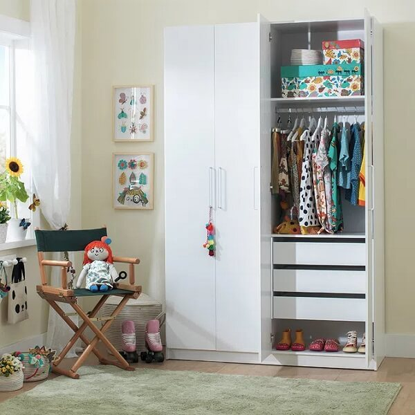 Assess the size of the room before investing in the 4-door children's wardrobe