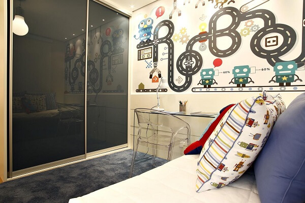 The children's wardrobe with sliding door is excellent for small rooms, as it optimizes space