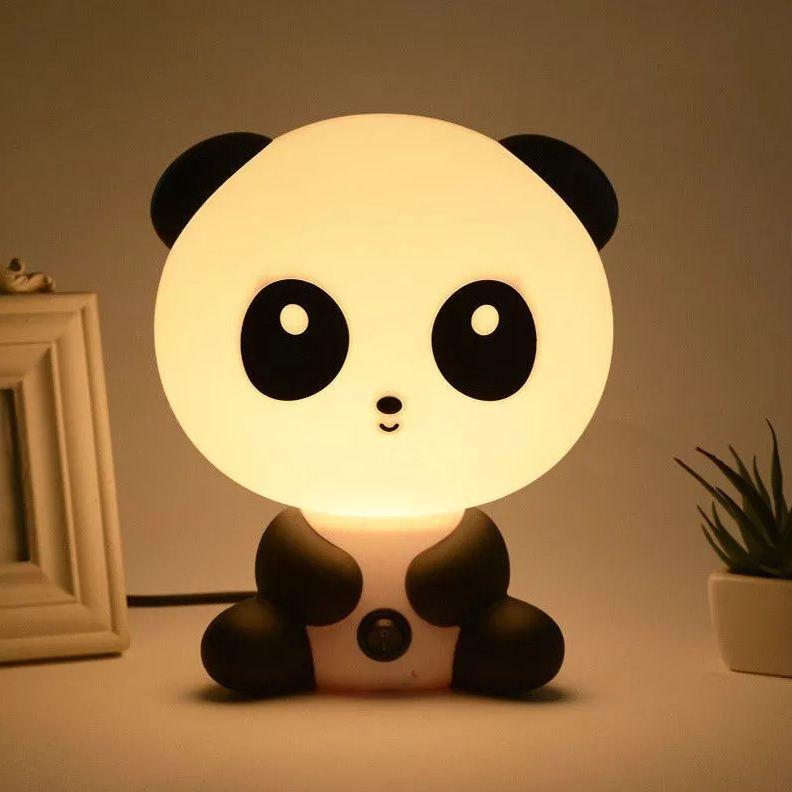 Children's bedroom with decorative panda lamp