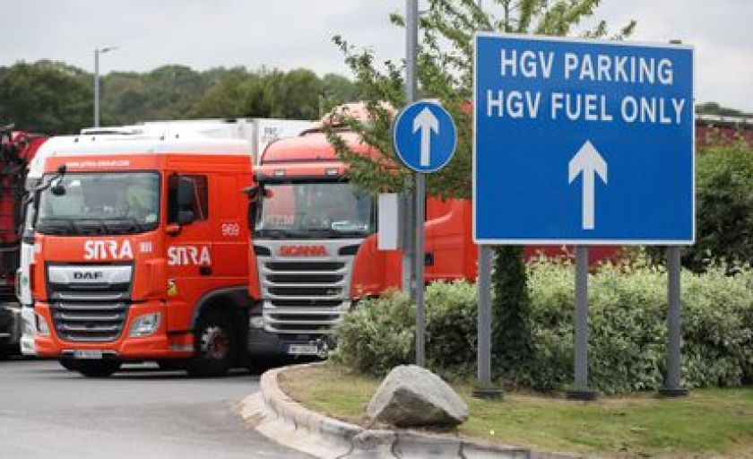 Trucks with heavy goods at the Cobham Rest Area (UK) on 31 August.