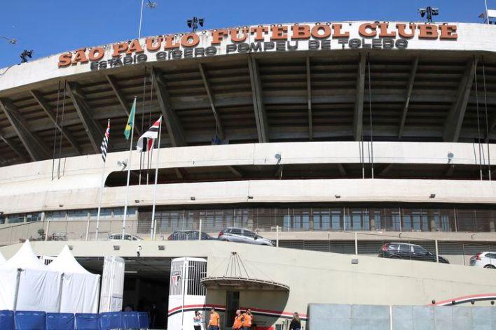 Fachada do Estádio do Morumbi, na zona oeste de São Paulo.