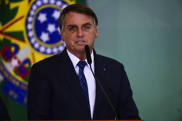 O presidente Jair Bolsonaro participa do lançamento da Agenda Prefeito   Brasil, no Palácio do Planalto.