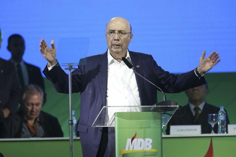 O ex-ministro Henrique Meirelles durante convenção Nacional do MDB em Brasília.
