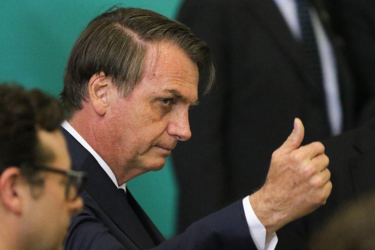 O presidente Jair Bolsonaro, assiste à apresentação da 2ª Fase da Campanha Publicitária da Nova Previdência.