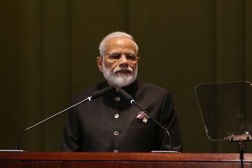 O  Primeiro-ministro da República da Índia, Narendra Modi, durante diálogo dos Líderes com o Conselho Empresarial do BRICS