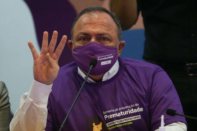 O ministro da Saúde, Eduardo Pazuello, durante apresentação de ações voltadas ao cuidado às gestantes e recém-nascidos no Sistema Único de Saúde (SUS).
