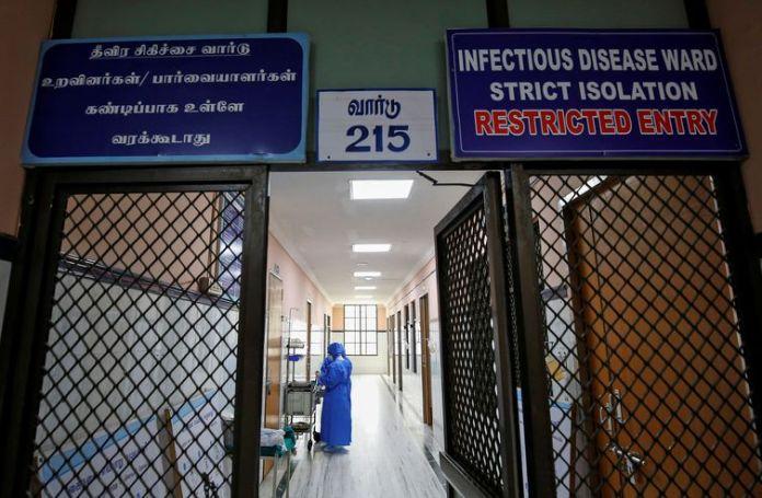 Ala de hospital na Índia preparada para receber pessoas com coronavírus, na cidade de Chennai