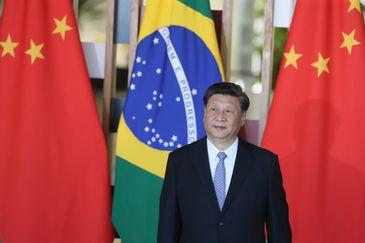 O  presidente da República Popular da China, Xi Jinping, durante declaração à imprensa no Palácio do Itamaraty, em Brasília