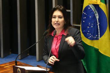 Brasília - Senadora Simone Tebet durante sessão do impeachment no Senado, conduzida pelo presidente do STF, Ricardo Lewandowski  (Antonio Cruz/Agência Brasil)