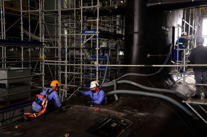 Marinha faz últimos ajustes no submarino Humaitá no Complexo Naval e Industrial de Itaguaí (CNI)