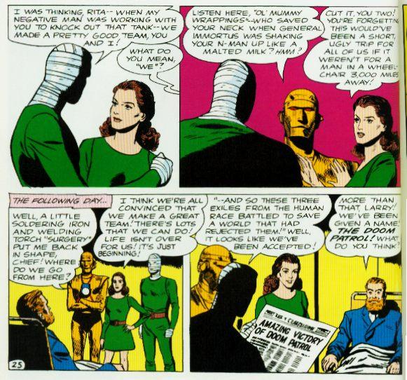 Os anos 60! Um cadeirante como líder do grupo lembrou X-Men? Bem, a Patrulha estreou antes, acredite se quiser...
