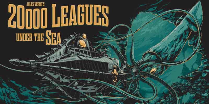 Poster ilustrado de 20.000 Léguas Submarinas, obra de Júlio Verne que abriu as portas da moderna ficção - científica