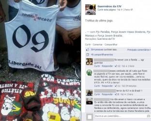Integrantes de organizada do Vasco vibram com 'troféu' após pancadaria