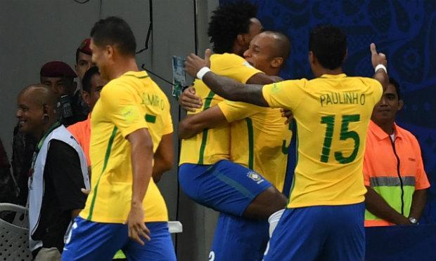 Miranda e Neymar marcaram os gols da vitória da Seleção. / Foto: AFP