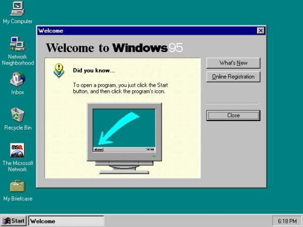 Windows 95. (Divulgação).