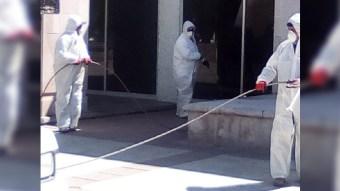 Desinfectan edificios, calles y zonas públicas  de Jerez