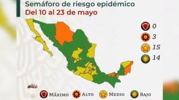 Zacatecas continúa en amarillo en el semáforo epidémico; hay 14 entidades en verde