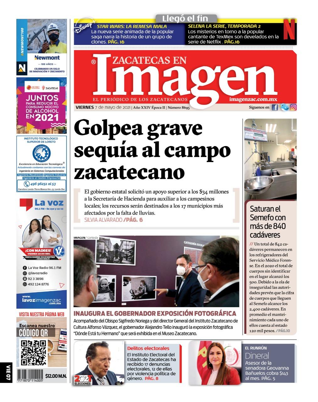 Imagen Zacatecas edición del 07 de mayo del 2021