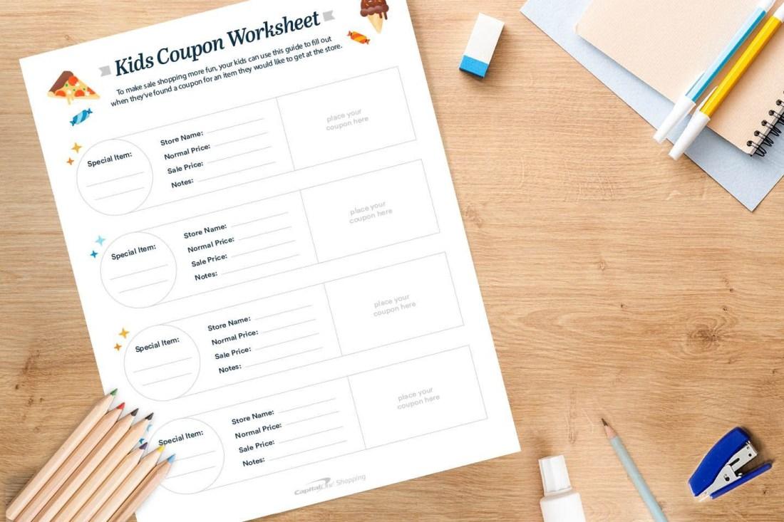 kids coupon worksheet