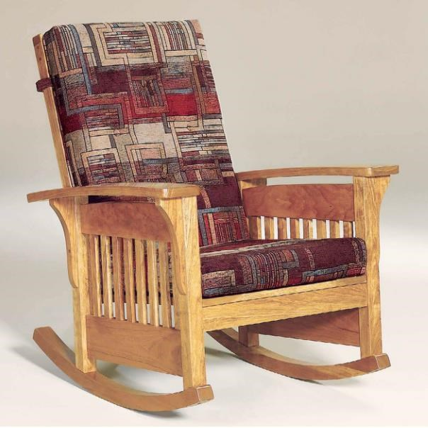 amish made rocking chair cushions picnic time sports aj s furniture upholstery 760 basr mission bow arm with tie on cushion dunk bright upholstered rocker