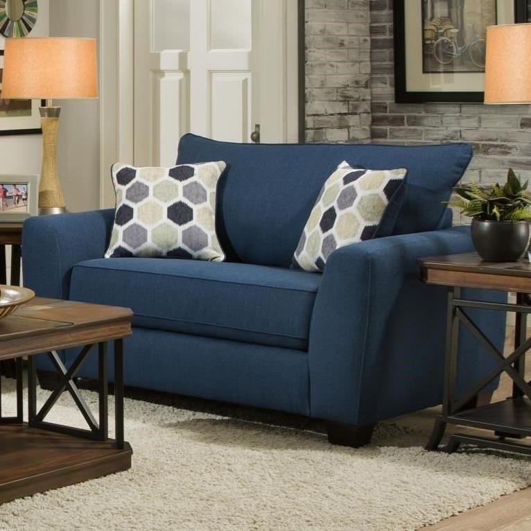 Blue Chair And A Half Albany 0416 Chair 1 2 With Loose Pillow Back Value City