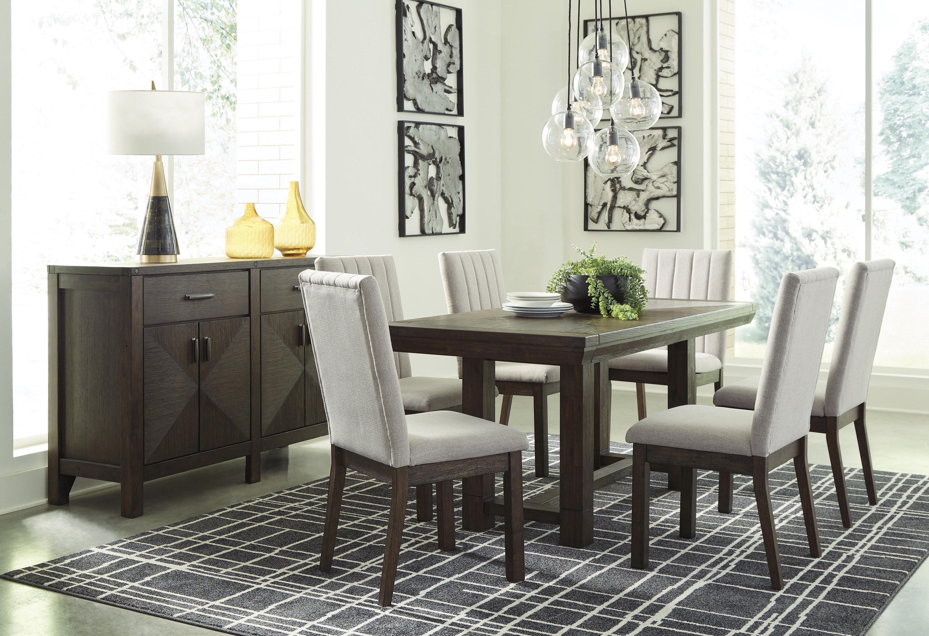 Ashley Furniture Dellbeck D748 45 6x01 60 8 Pc Table 6 Uph Side Chairs And Server Set Sam Levitz Furniture Dining 7 Or More Piece Sets