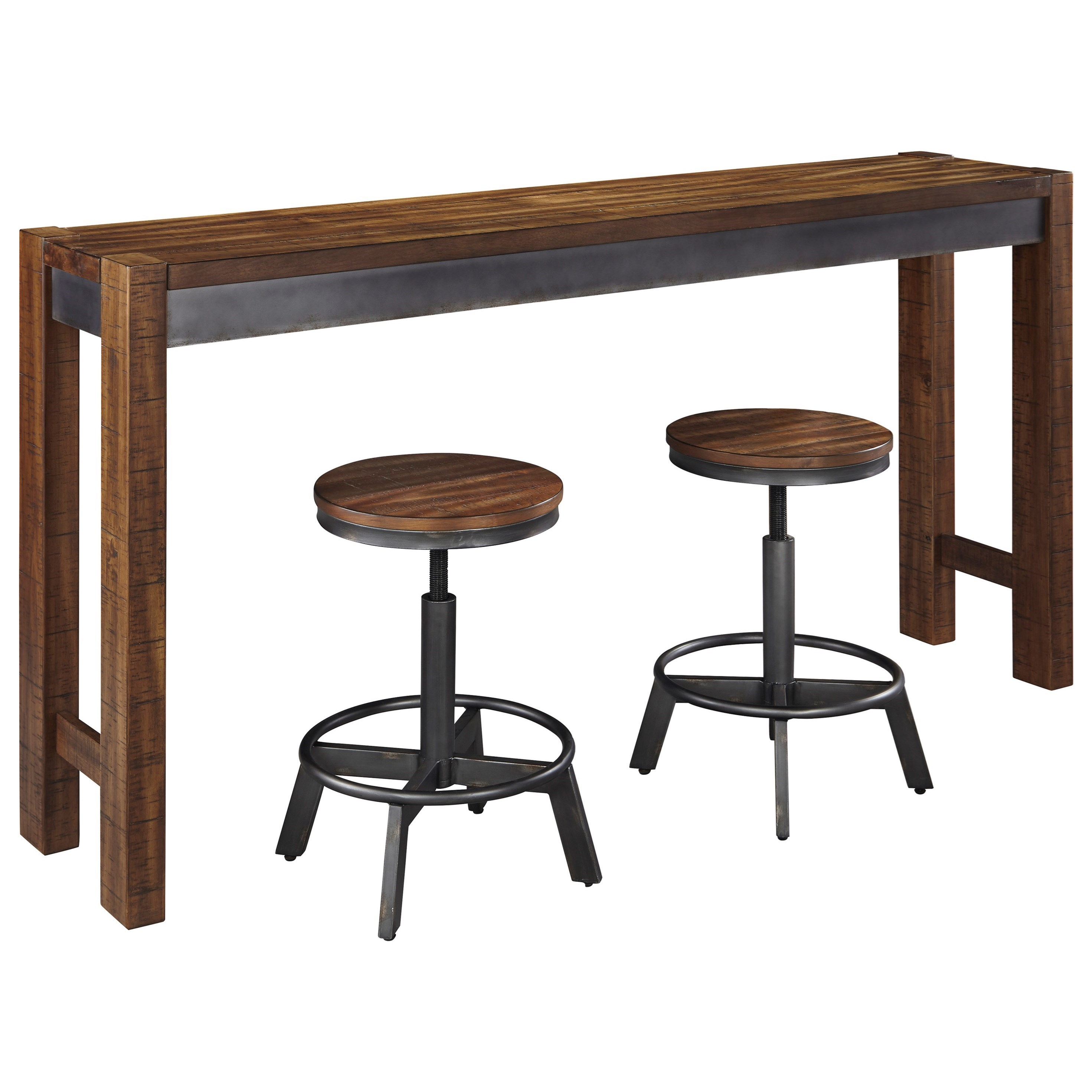Bar Table With Chairs Torjin 3 Piece Rustic Long Counter Table Set By Signature Design By Ashley At Wayside Furniture