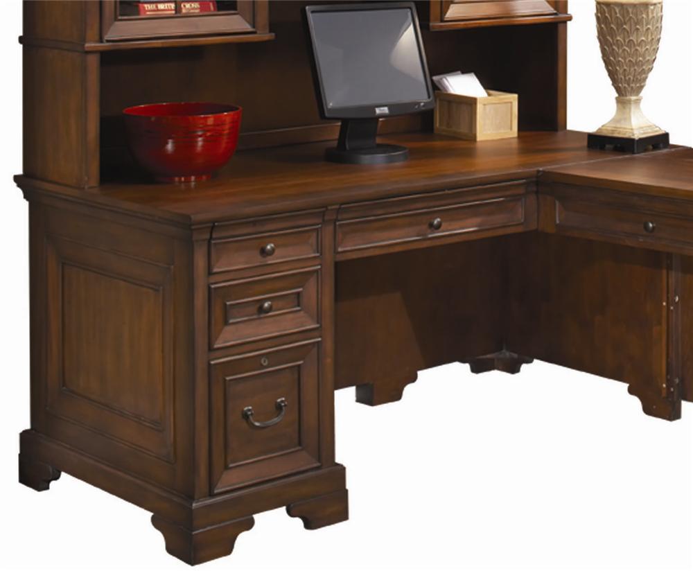 Aspenhome Richmond 66 Inch Single Pedestal Computer Desk For A Return Stoney Creek Furniture Single Pedestal Desks