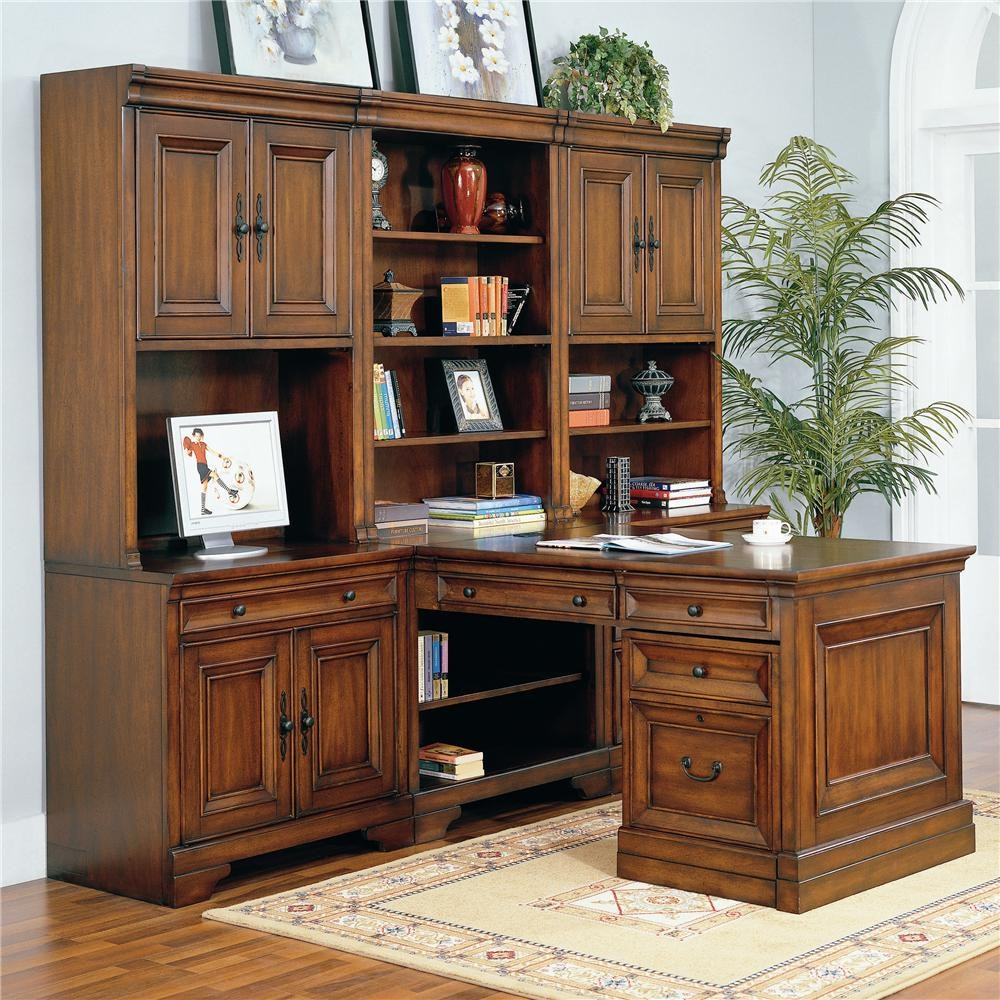 Aspenhome Richmond Modular Peninsula Desk Wall  Belfort Furniture  LShape Desk