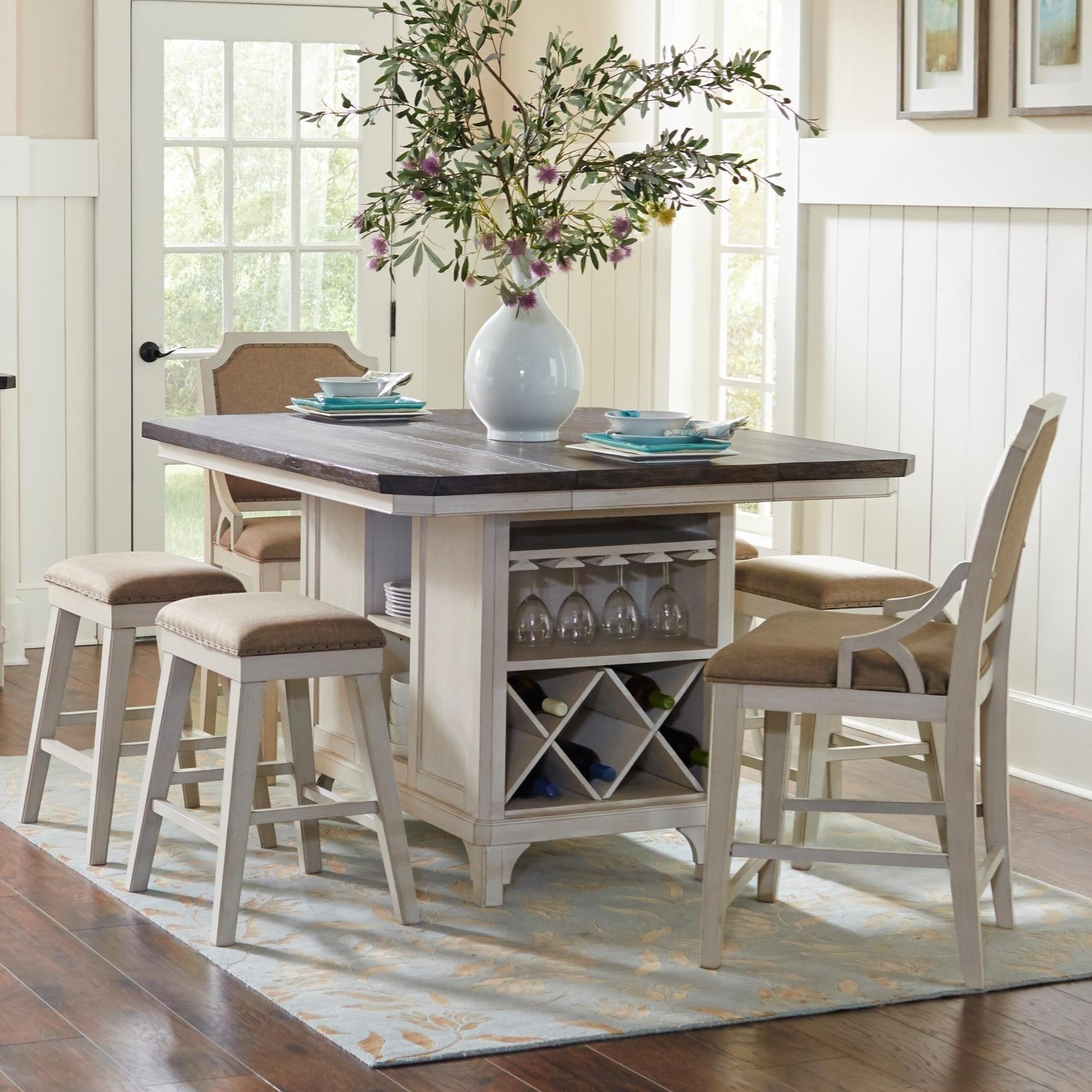 Avalon Furniture Mystic Cay 7 Piece Kitchen Island Table Set Zak's