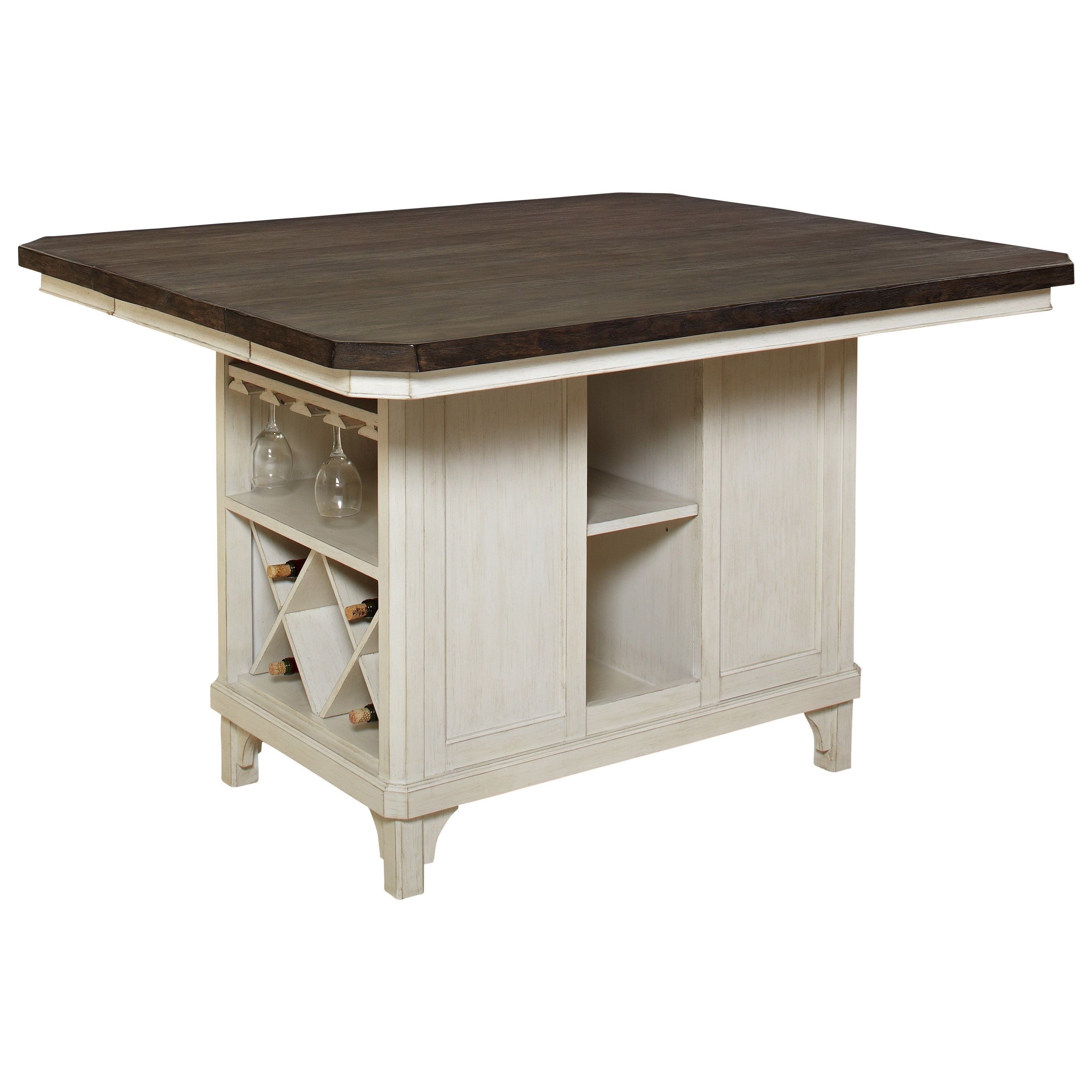 Avalon Furniture Mystic Cay Kitchen Island With 18 Leaf And Bottle Storage Van Hill Furniture Kitchen Islands
