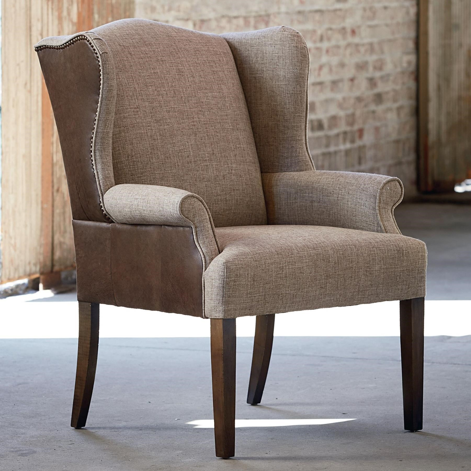 Wingback Dining Room Chairs Bassett Arden 1118 02lf Customizable Wing Back Leather Fabric