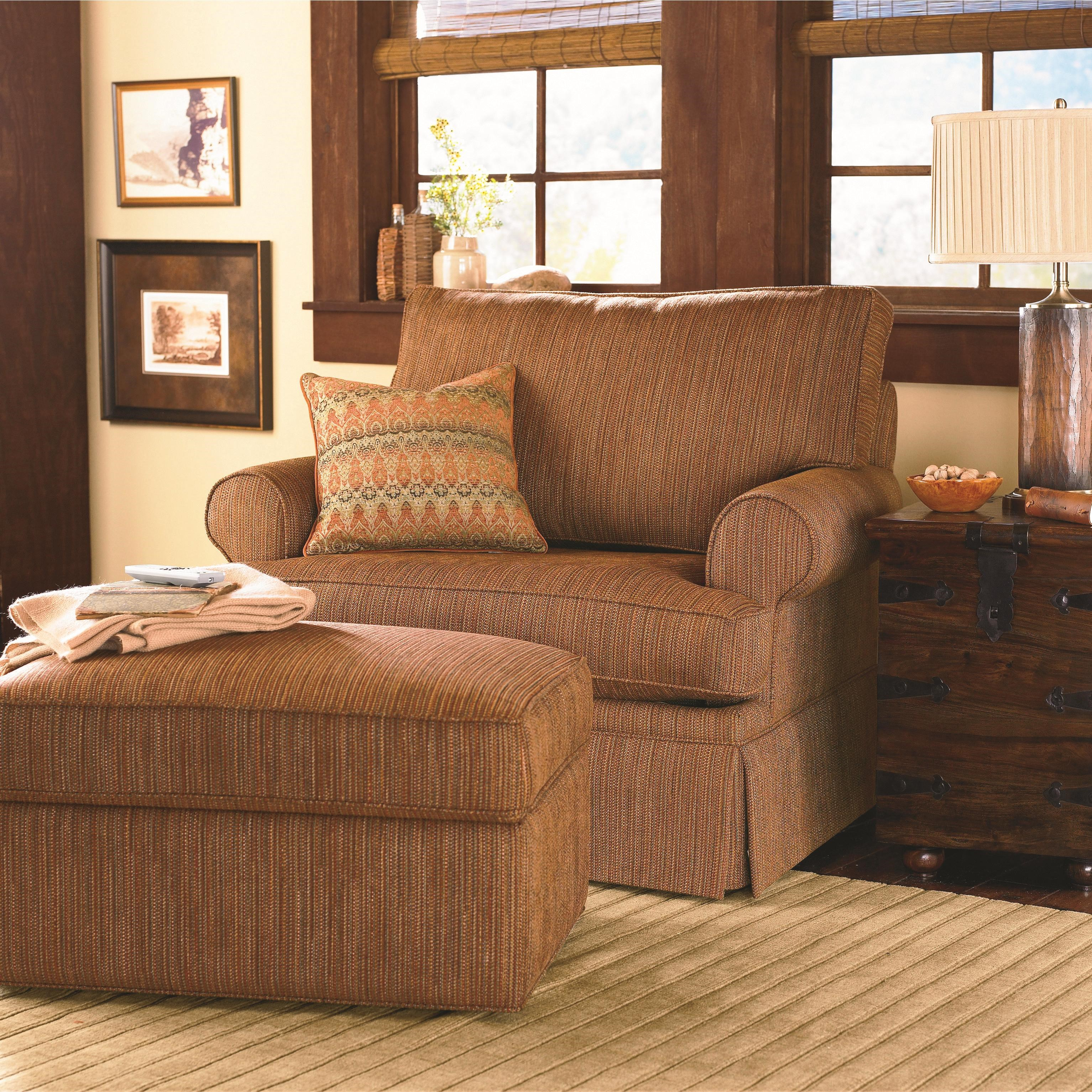 chair and a half with storage ottoman club recliner bassett custom upholstery medium scale b customizable