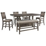 Benchcraft By Ashley Johurst 6 Piece Counter Height Dining Set With Bench Royal Furniture Table Chair Set With Bench