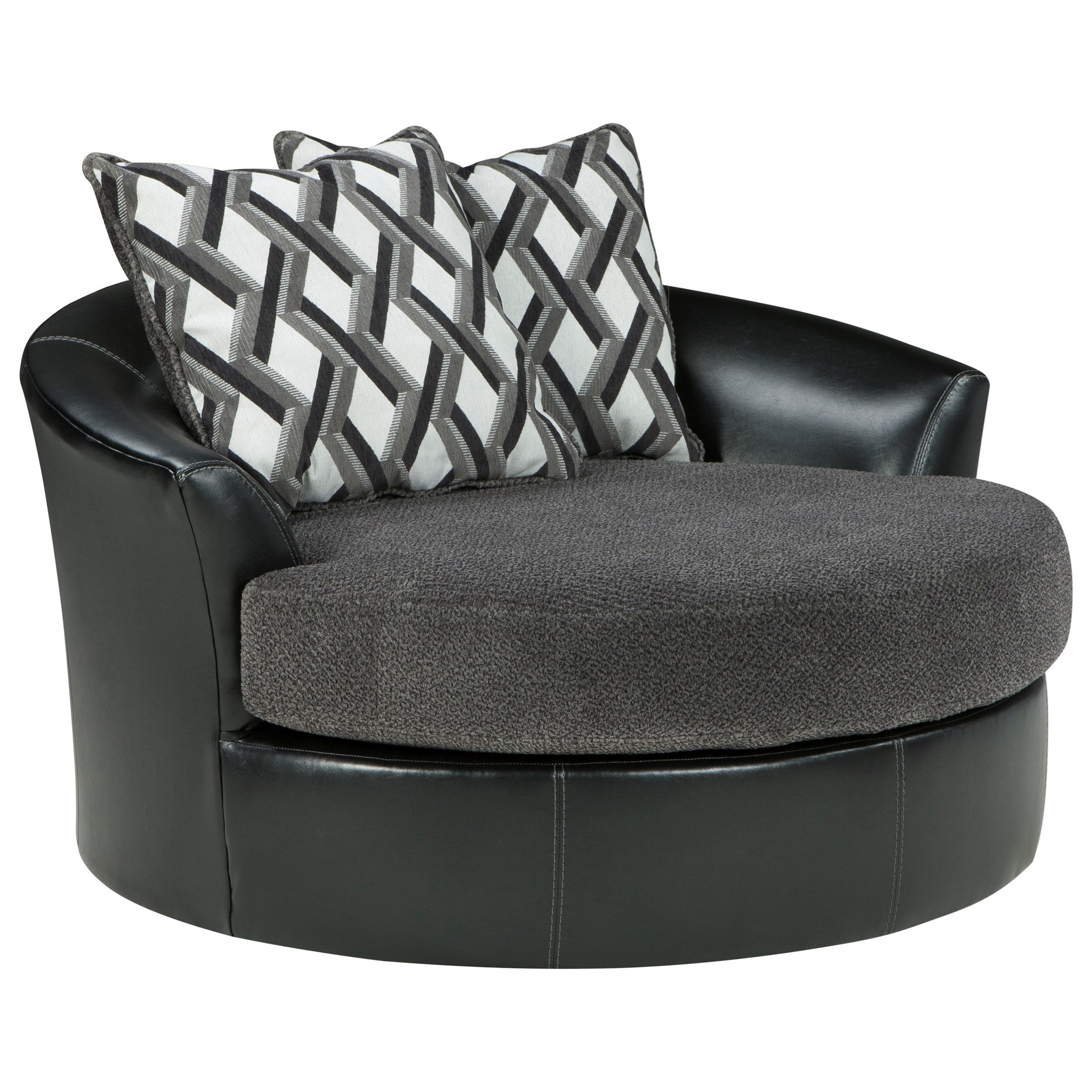 Benchcraft By Ashley Kumasi Contemporary Fabric Faux Leather Oversized Swivel Accent Chair Royal Furniture Upholstered Chairs