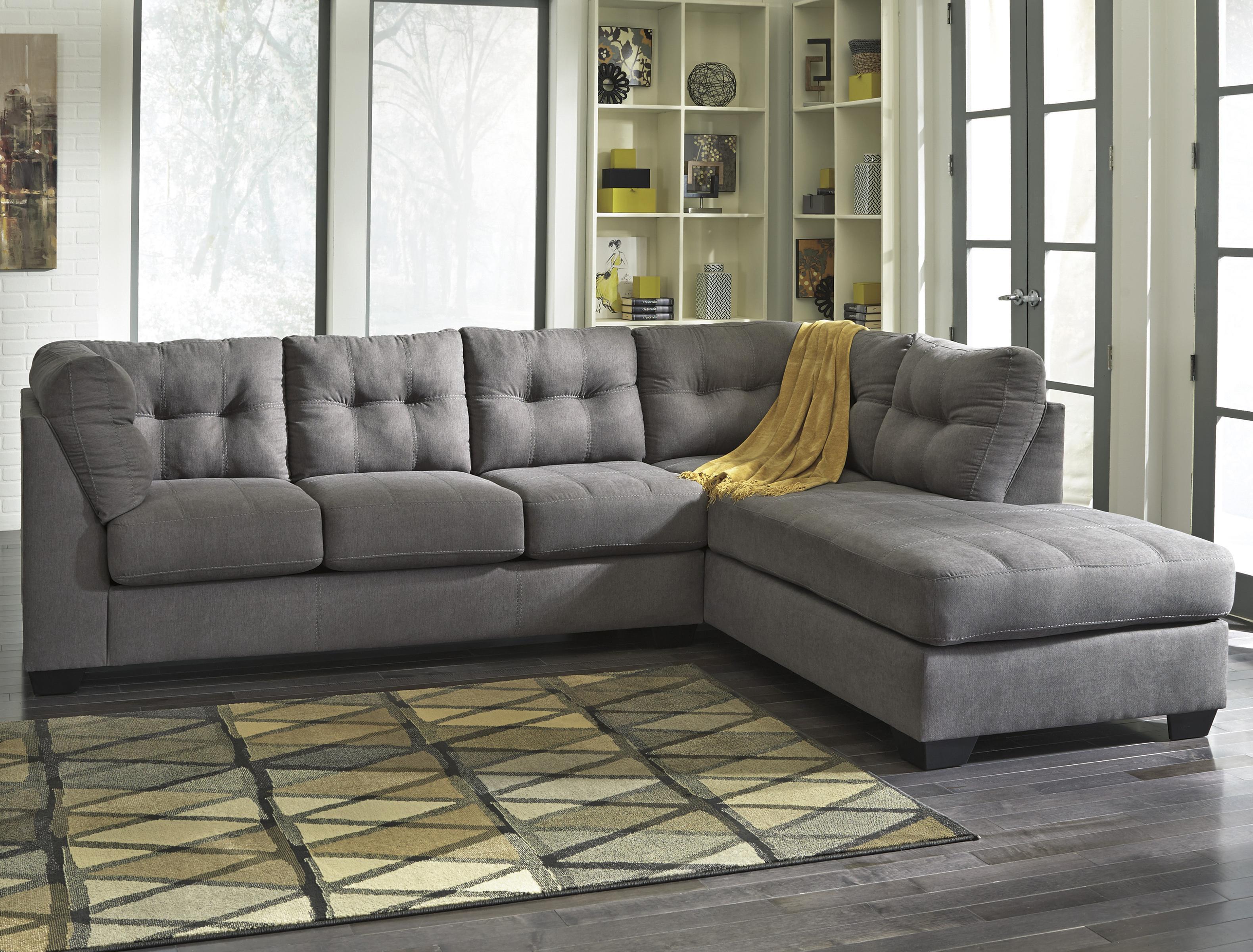 maier charcoal 2 piece sectional w sleeper sofa chaise