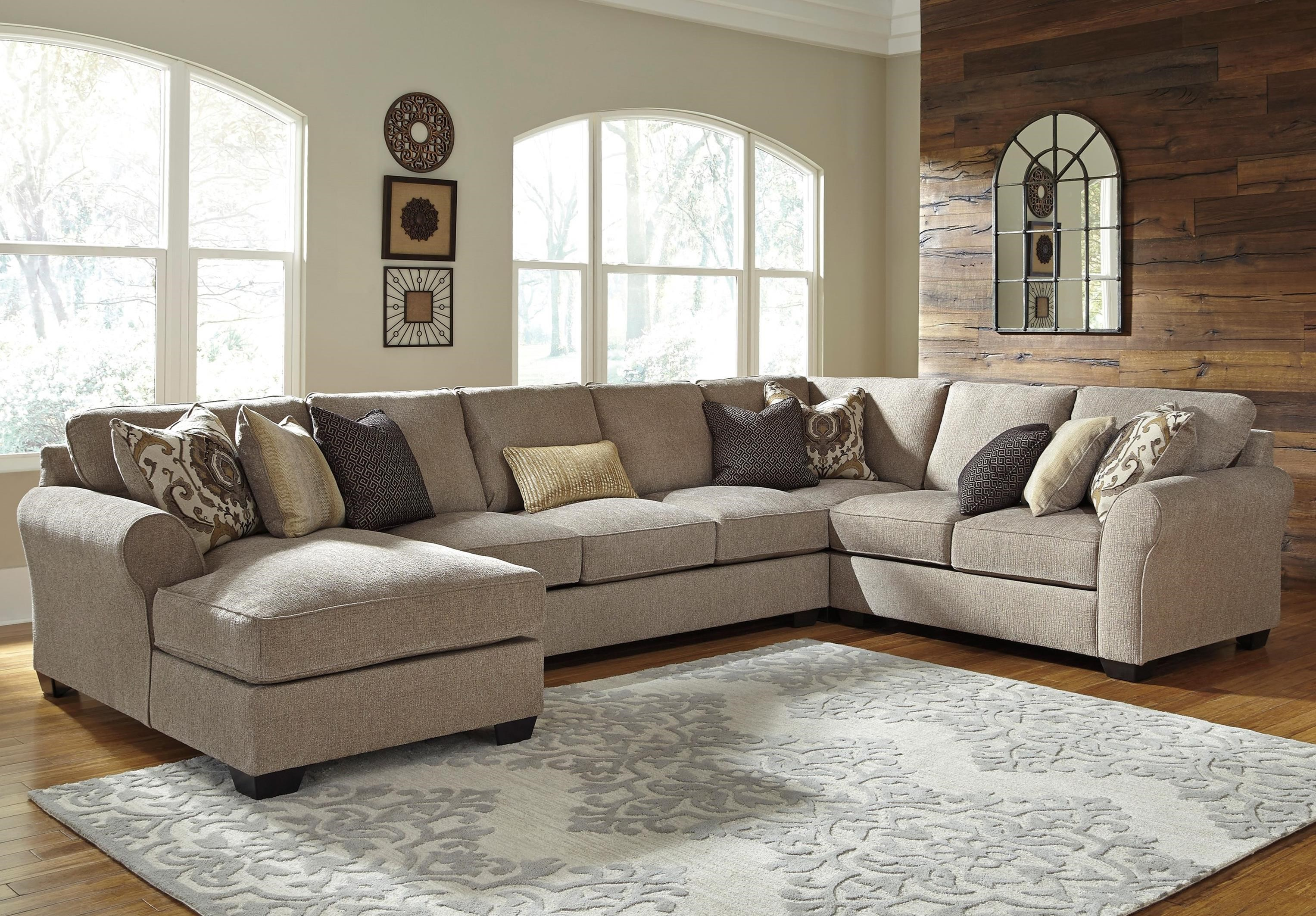 armless sofas cream colored leather sofa benchcraft pantomine 4 piece sectional w left chaise pantomine4