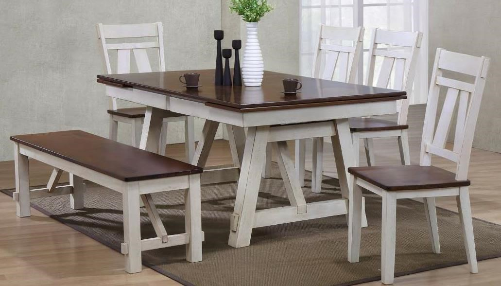 farmhouse table and chairs with bench john deere rocking chair cushion winslow 6 piece two tone refectory set miskelly bernards winslow6